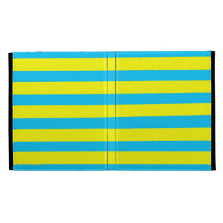 Fun Summer Bright Yellow and Teal Blue Stripes iPad Folio Cover