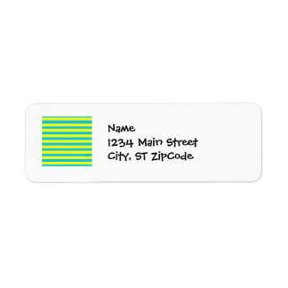 Fun Summer Bright Yellow and Teal Blue Stripes Label