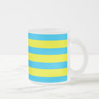 Fun Summer Bright Yellow and Teal Blue Stripes 10 Oz Frosted Glass Coffee Mug