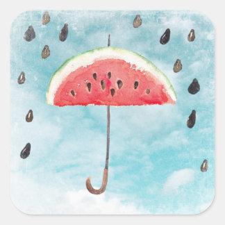 Fun Summer Fresh Melon Fruit Rain Square Sticker