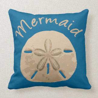 Fun Summer Holiday Mermaid Sand Dollar Art beach Throw Pillow