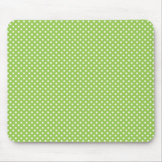 Fun Summer Lime Green and White Polka Dot Pattern Mouse Pad