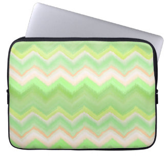 Fun Summer Orange Lime Green Ikat Zigzag Pattern Laptop Sleeve
