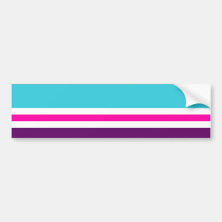Fun Summer Pink Teal Orange Purple Striped Pattern Bumper Sticker
