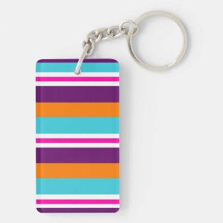 Fun Summer Pink Teal Orange Purple Striped Pattern Double-Sided Rectangular Acrylic Keychain