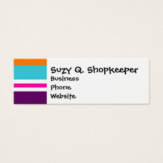 Fun Summer Pink Teal Orange Purple Striped Pattern Mini Business Card
