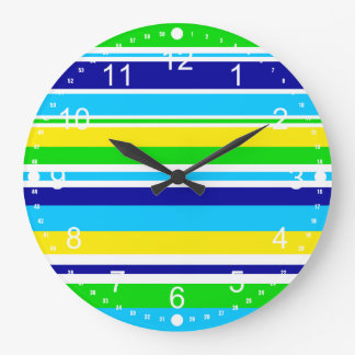 Fun Summer Striped Teal Lime Yellow Blue Gifts Clock