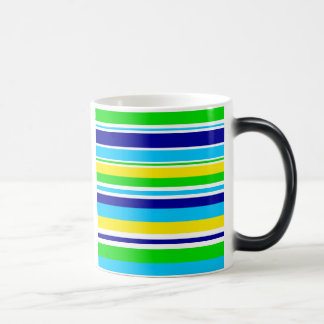 Fun Summer Striped Teal Lime Yellow Blue Gifts Magic Mug