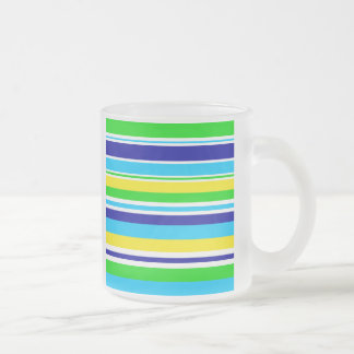 Fun Summer Striped Teal Lime Yellow Blue Gifts 10 Oz Frosted Glass Coffee Mug
