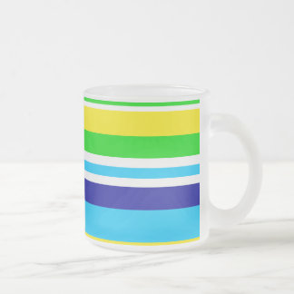 Fun Summer Striped Teal Lime Yellow Frosted Mug