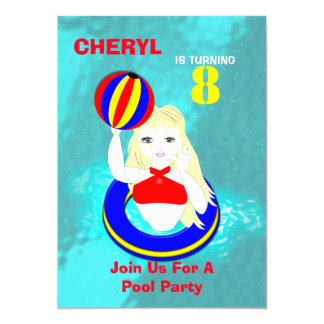 Fun Summer Swimming Pool Party Themed Card