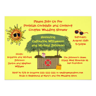 Fun Summer Tiki Hut Cookout Couples Bridal Shower 5.5x7.5 Paper Invitation Card