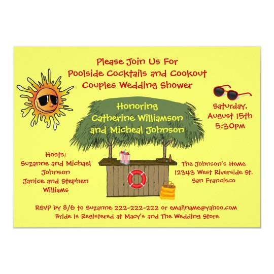 Fun Summer Tiki Hut Cookout Couples Bridal Shower Card Zazzle