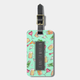 Fun Summer Watercolor Painted Mixed Drinks Pattern Luggage Tag