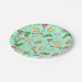 Fun Summer Watercolor Painted Mixed Drinks Pattern Paper Plate