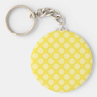 Fun Summer Yellow Polka Dots on Yellow Gifts Basic Round Button Keychain