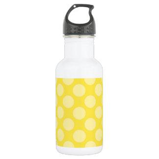 Fun Summer Yellow Polka Dots on Yellow Water Bottle