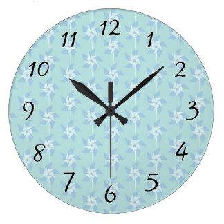 Fun Summery Pinwheels Large Clock
