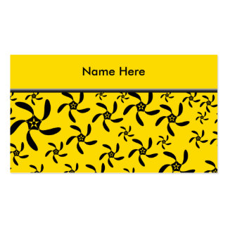 Fun sunny yellow and black flower design. business card