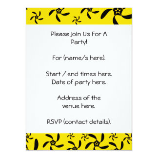 Fun sunny yellow and black flower design. card