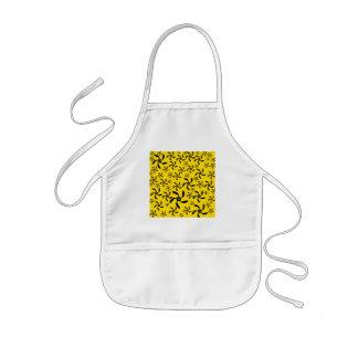 Fun sunny yellow and black flower design. kids' apron