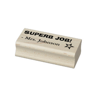 "Fun ""SUPERB JOB!"" + Educator's Name Rubber Stamp"