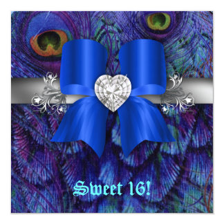Fun Sweet 16 Party Invite Peacock Bow Blue Silver