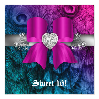 Fun Sweet 16 Party Invite Peacock Bow Pink Silver