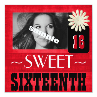 "Fun Sweet Sixteenth Party for Country Girls 5.25"" Square Invitation Card"