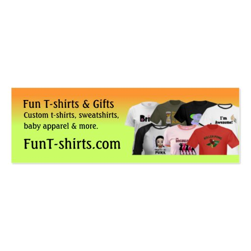 Fun t shirts profile card business cards for Business cards for t shirt business