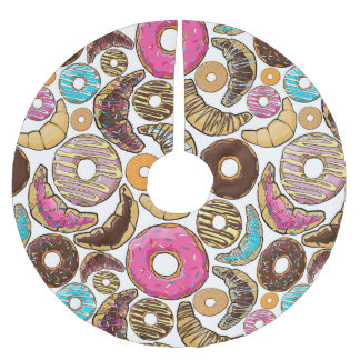 Fun Tasty Donuts Design Brushed Polyester Tree Skirt
