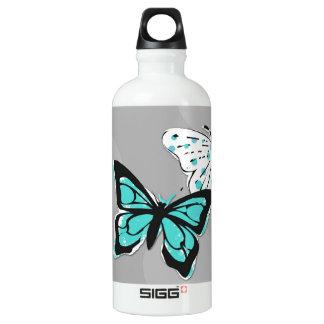Fun Teal Blue Butterflies Aluminum Water Bottle