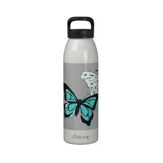 Fun Teal Blue Butterflies Drinking Bottles
