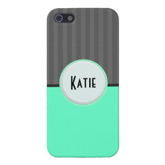 Fun Teal Circus Stripes Personalized Iphone 5 Cover For iPhone SE/5/5s