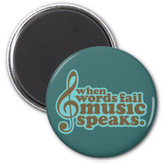 Fun Teal Music Speaks Musician Gift 2 Inch Round Magnet
