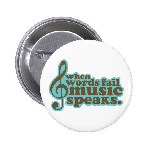 Fun Teal Music Speaks Musician Gift Pin