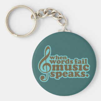 Fun Teal Music Speaks Musician Gift Keychain