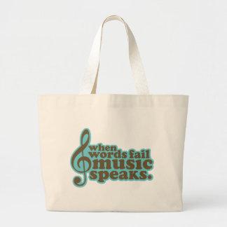 Fun Teal Music Speaks Musician Gift Large Tote Bag