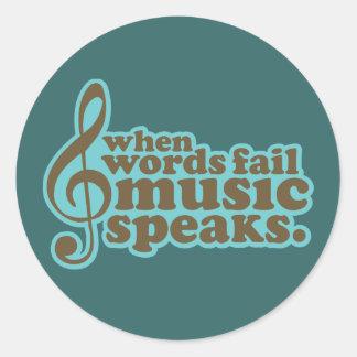 Fun Teal Music Speaks Musician Gift Round Stickers