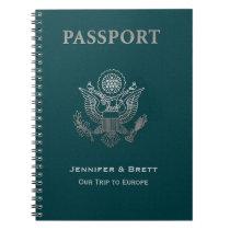 Fun Teal Passport Custom Notebook