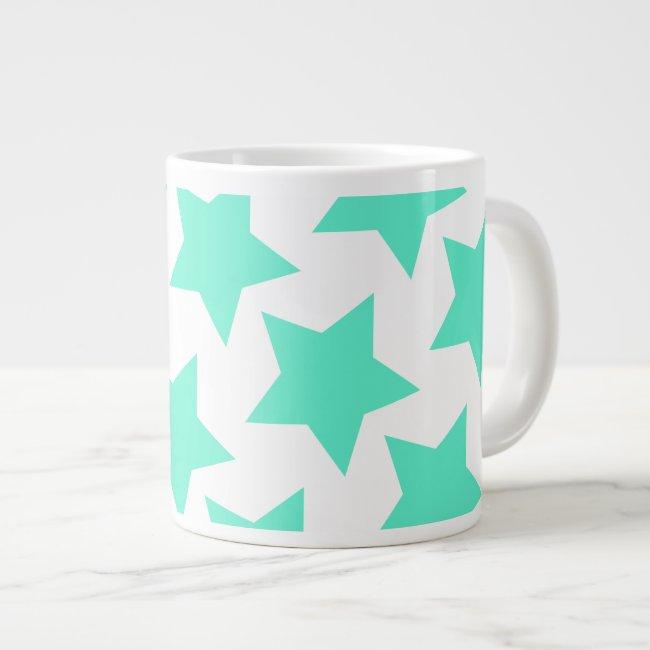 Fun Teal Stars Pattern Jumbo Mug