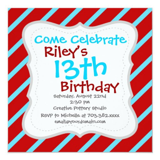 Funny 22nd Birthday Ecards: Fun Teal Turquoise Red Diagonal Stripes Gifts Invitation