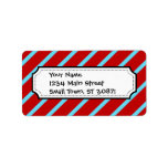 Fun Teal Turquoise Red Diagonal Stripes Gifts Custom Address Labels