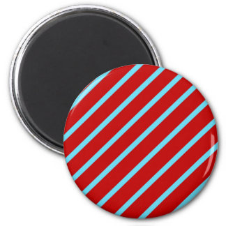 Fun Teal Turquoise Red Diagonal Stripes Gifts Magnet