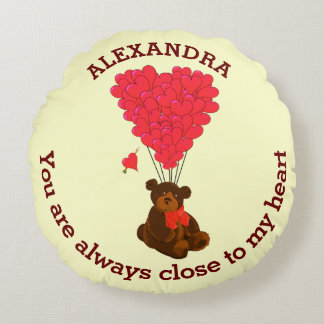 Fun teddy bear and red heart personalized round pillow