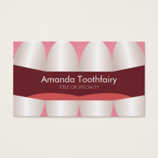 Fun Teeth Open Mouth Modern Dentist Business Card