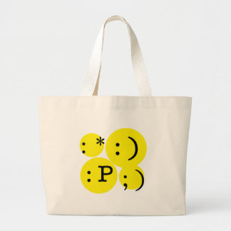 Fun Text Emotions Large Tote Bag