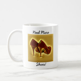 Fun Text Red and Gold Ladies High Heeled Shoes Coffee Mug
