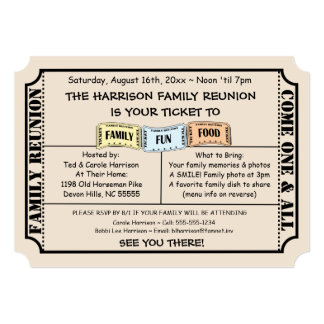 Family reunion invitations announcements zazzle fun ticket cut family reunion invitation stopboris Images