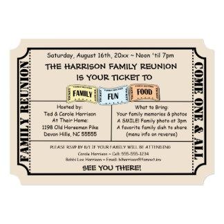 Fun Ticket Cut Family Reunion Invitation